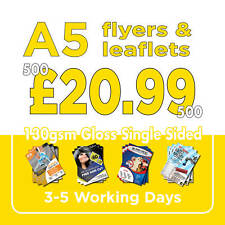 500 A5 Full Colour Single Sided Flyers / Leaflets Printed 130gsm Gloss