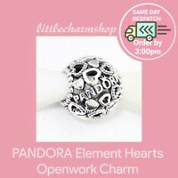New Authentic Genuine PANDORA Element Hearts Openwork Charm - 796461 RETIRED