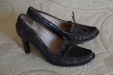 Michael Kors Brown Leather Loafer Moccasin High Heel Excellent Career 7.5 M