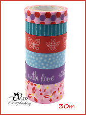 MAXI LOT Masking tape (x6) Masking Tape washi tape 30m 6 pcs PAINTED BLOOMS LOVE