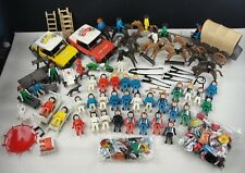 Vintage Geobra Playmobil Lot - People Hospital Indian Horses Police Cars Western