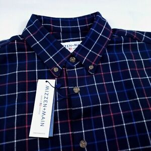Mizzen Main TRIM FIT Flannel Navy Blue Check Stretch Button Down Shirt $145 XL