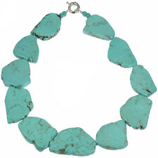 Genuine Semi Precious Turquoise Chunky Large Flat Shape Stone Choker Necklace