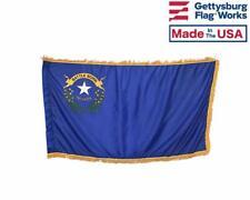 3x5' Nevada Indoor Flag with Pole Hem & Gold Ornamental Fringe