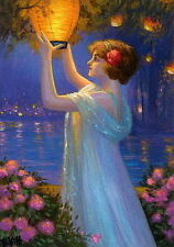 Victorian lady Japanese lantern lake flowers fantasy OE aceo print art