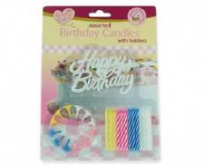 ** QUEEN OF CAKES ASSORTED BIRTHDAY CANDLES WITH HOLDERS NEW ** PARTY