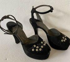 Gainsborough 1940 Vintage Clothing Black Suede High Heels Shoes Pearl Decor