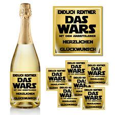 1 Aufkleber Flaschenetikett - DAS WARS ENDLICH RENTNER - Rente - Geschenk D2
