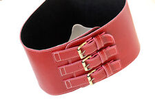 CEINTURE CORSET CUIR VINTAGE PIN UP  RED LEATHER WOMAN BELT CORSET TAILLE S