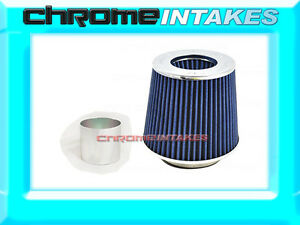 "BLUE UNIVERSAL 2.75"" 70mm FLANGE DRY AIR FILTER FOR DODGE AIR INTAKE+PIPE"