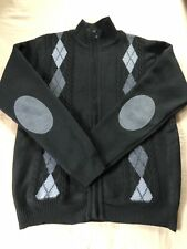True Rock Mens Black/Gray Plaid Design Full Zip Cardigan/ Sweater, Size Large