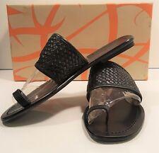 """Via Spiga """"Raleigh"""" Woven Strap Big Toe Sandals Sz. 7 Black $155"""