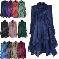 NEW WOMENS ITALIAN LAGENLOOK QUIRKY LAYERED 3 PIECE TUNIC DRESS TOP SIZE 12-20