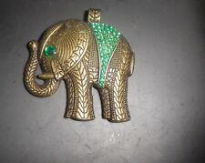 Vintage Costume Big Boho Baby ELEPHANT Green 1980s pendant -NZ Deceased Estate