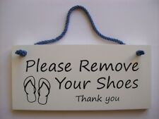 DOOR SIGN RUSTIC ENGRAVED WOOD.'PLEASE REMOVE YOUR SHOES THANKYOU'