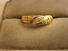 MENS RING BAND FANCY SIGNED 10K YELLOW & WHITE GOLD SIZE 10 NUGGETS STYLISH USA