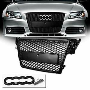 RS4 STYLE (GLOSS BLACK) FRONT GRILL (2008-2012) B8 - FIT AUDI A4 & S4