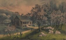 CURRIER & IVES AMERICAN HOMESTEAD SPRING 1869 Original Colored Lithograph Print