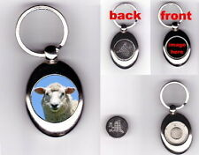 SHEEP TROLLEY COIN TOKEN KEYRING FARM ANIMAL LOVER PHOTO GIFT