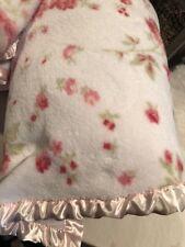Rachel Ashwell Shabby Chic Pink Floral Super Cozy Plush Blanket F/Q