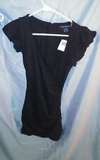 French Connection Annie Stretch Faux Wrap Ruffle Cap Sleeve Dress Black sz 0 NWT