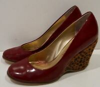 POETIC LICENCE Burgundy Red Leather Leopard Pony Hair Wedge Heel Court Shoes 5