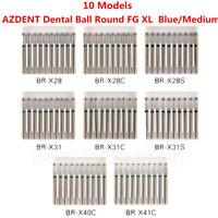 10 Types AZDENT Dental Diamond Burs Ball Round For High Speed Handpiece FG 1.6mm