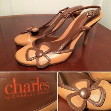 New! CHARLES by Charles David Size 8.5 Brown Beige Leather Floral Strappy Heels