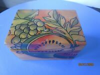 Vintage Mid Century Wooden Country Kitchen Recipe Box--Hand Painted watermelon