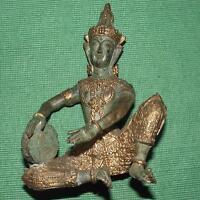 Vecchio Pesante Massiccio Bronzo IN Buddha Figura: Drumming Buddha 15.9cm A