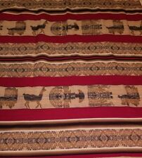 WOOL THROW BLANKET PERU WOVEN FOLK ART LLAMA, SUN GOD 49.5x46