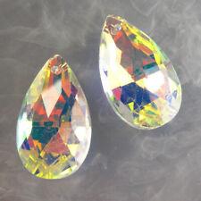 2pcs facettiert weiss Rainbow Titan Kristall Teardrop Pendant Bead h46379
