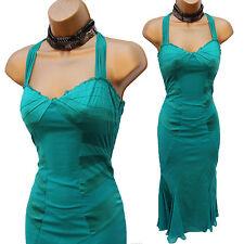 KAREN MILLEN Emerald Green Halterneck Silk Cocktail Flapper Cruise Dress 8 UK 36
