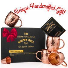 Set of 4 Moscow Mule Copper Mugs, Pure Copper Moscow Mule Mugs + Shot Glass