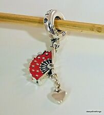 NWT AUTHENTIC PANDORA SILVER CHARM SPANISH FAN DANGLE RED ENAMEL #797879EN09