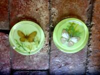 PAIR OF CRYSTAL CRAFT LIME GREEN BUTTERFLY COASTERS