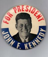 John F Kennedy For President Button 1960's 3 1/2 inch great shape