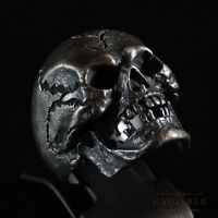 Biker Skull Ring Sterling Silver Harley Davidson Size Memento Mori by UNIQABLE