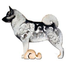 Norwegian Elkhound figurine, dog statue made of wood