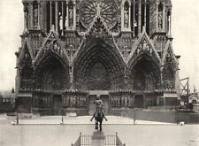 MARNE. Portail de Cathédrale Reims statue Jeanne D'arc, Par. Dubois 1900 print