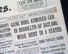 Early ARMORED TRUCK Rube Ice Holdup Brooklyn New York Times 1934 Old Newspaper