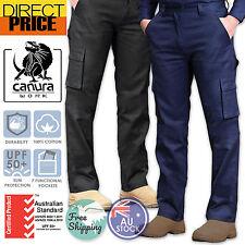 Mens Cargo Pants Work Pants Cotton Drill 8 Pockets Black Navy Heavy Duty UPF50
