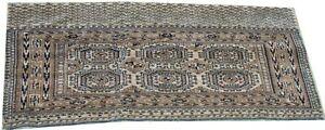 Oriental carpet antique handmade wool Juval Turkmen rug circa 1900 5 x 2.6 FT