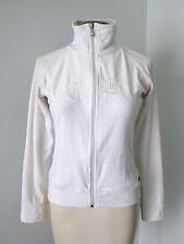 BCBG MAX AZRIA white velour full zip track jacket pocket logo front S