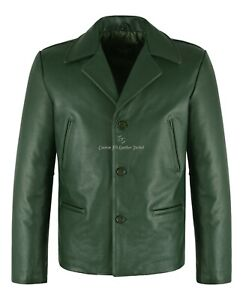 Men's 70's Jacket Green Classic Collared Blazer Real Cowhide Leather Jacket 4162