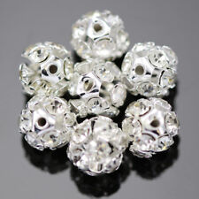 Clear Rhinestone Crystal Diamante Silver Plated Round Ball Spacer Beads