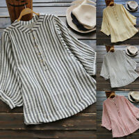Womens Long Sleeve Casual Striped Loose Tunic Button Down Linen Shirt Top Blouse