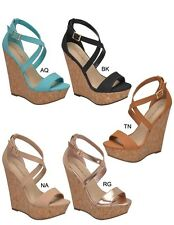 Women Open Toe Criss Cross Mary Jane Ankle Strap Wedge Platform Heel Pump Sandal