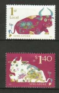 SINGAPORE 2021 ZODIAC 3RD SERIES YEAR OF OX COMP. SET OF 2 STAMPS IN MINT MNH