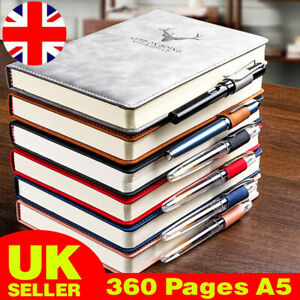 360 Pages A5 PU Leather Cover Traveler Journal Notebook Lined Paper Diary UK